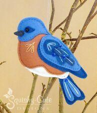 Bluebird Sewing Pattern - Bird Ornament Felt Plushie Pattern & Tutorial