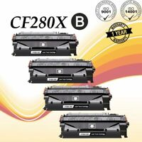 4 Pack Black CF280X 80X Toner Cartridge for HP LaserJet Pro 400 M401dne M401dw
