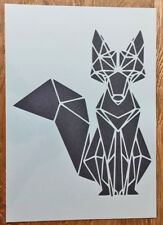 Shabby Chic Stencil A3 Artistic fox geometric Rabbit (420x297mm) wall furniture