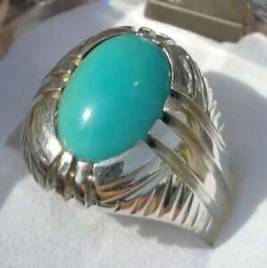 Natural turquoise ring Hussaini feroza in 925 Sterling Silver Handmade Artisan