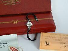 60's SOLID 14K GOLD CASE 0.30 TCW DIAMOND UNIVERSAL GENEVE WOMEN'S WATCH w/ BOX