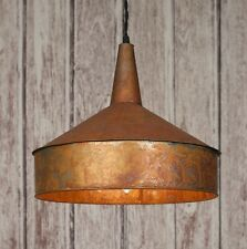 Classic Vintage Rustic Mid 19th Century Large  COPPER FUNNEL Pendant Light Lamp