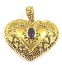 14k Yellow Gold Puffed Heart Pendant With Amethyst Febuary Birthstone