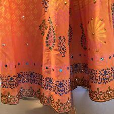 Cotton SKIRT w/Sequins Size L India Hippie Artsy Boho Ren-Fair Gypsy Bright