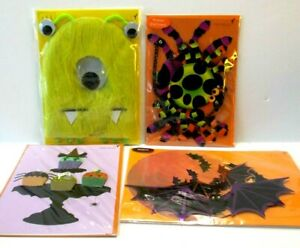Lot 4 Papyrus Greeting Cards Halloween Spider Bat Mobile Fuzzy Monster Cupcakes