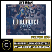 2019 PANINI LUMINANCE FOOTBALL 12 BOX (FULL CASE) BREAK #F182 - PICK YOUR TEAM