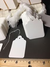 1000 LOT #7 WHITE STRUNG Retail PRICE TAGS Blank 1-7/16 x 2-1/8 NEW Tag LARGE