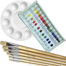 Artist 12 Watercolor Color Painting Paint Set + 6 Brush Set w/ Round Palette Set