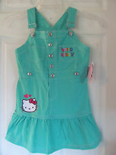 NWT Baby Girls Hello Kitty Aqua, White Ruffled bottom Jumper dress sz 6