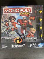 Incredibles 2 Monopoly Junior Jr Disney Pixar Hasbro Board Game
