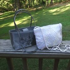 2 Beaded Evening Bags,Silver Beaded & Embroidery, Pastel Bugle & Seed Beads