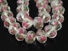 20pcs Faceted Murano Lampwork Glass Flower Rose Spacer Loose Beads Findings 12mm