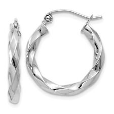 3 mm Polished Twisted Hoop Earrings in Genuine 14k White Gold - 15 to 36mm