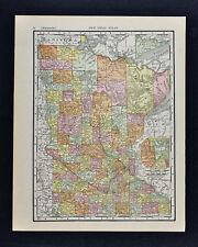 1911 McNally Map - Minnesota - St. Paul Minneapolis Waycross Duluth Litchfield