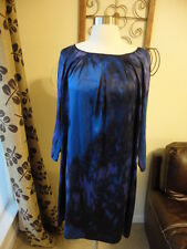 ELIE TAHARI Blue Purple Black Silk Artsy Tie Dye Shift Dress Size Small