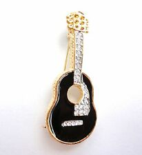 Enamel Pin Musical Instrument Free Shipping New Brooch Gold Tone Guitar Crystal