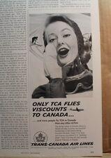 WOLFSCHMIDT VODKA TRANS CANADA AIRLINES TCA SNOW SKIING OLD  VTG 1958 ADS