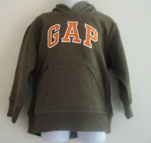 BNWT GAP Khaki Greem Orange Logo Hooded Sweat Top Size 3T