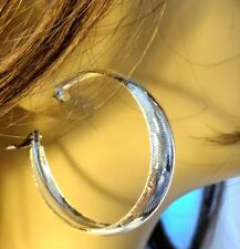 THICK HOOP EARRINGS SILVER TONE 2 INCH HOOP EARRINGS SHINY TEXTURED HOOPS