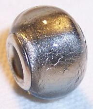 Solid Gray Foil Glass Large Hole Spacer Bead fits Silver European Style Bracelet
