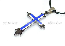 Stainless Steel Cross Pendant Necklace Jewelry Royal Blue Angular Fashion