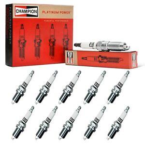 10 Champion Platinum Spark Plugs Set for FORD EXCURSION 2000-2005 V10-6.8L