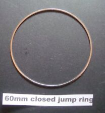 10 - CLOSED JUMP RINGS 60 mm SILVER PLATED  SUPERB QUALITY