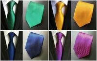 Tie Blue Green Yellow Red Orange Purple Pink Solid Pattern 100% Silk Necktie