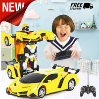Yellow Transformers Robot Car Toys with Lights for Kids Remote Control RC Toy UK