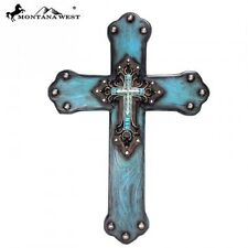 "Montana West Western Turquoise 17"" Wood Cross"