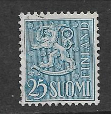 FINLAND POSTAL ISSUE - USED DEFINITIVE STAMP 1954 - COAT OF ARMS