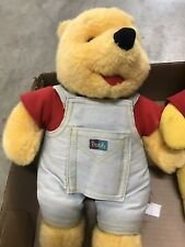 winnie the pooh stuffed bear in overall with story pocket