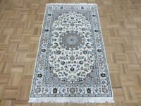 3'1 x 5'3 Hand Knotted Ivory Fine Nain With Silk Oriental Rug G7933