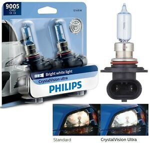 Philips Crystal Vision Ultra 9005 HB3 65W Two Bulbs Head Light Dual Beam Replace