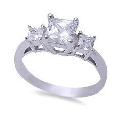 .925 Sterling Silver Ring Sizes 5-11 1ct Princess Cut Cz Stone Fashion Engagment
