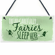 Fairies Sleep Here Garden Shed Fairy Shabby Chic Sign Plaque Home Gift Friend