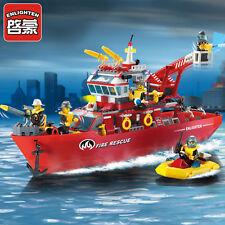 359pcs Enlighten Fire Rescue Multi-Function Boat Building Blocks Minifigures Toy