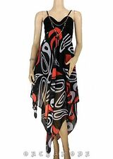 Robe T UNIQUE = 38 40 42 44 46 collier graphique noir orange Fête été NEUF Dress