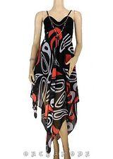 Robe T UNIQUE = 38 40 42 44 46 collier graphique noir orange Fête été NEUF Dress