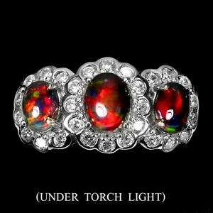 Amazing Real AAA Rainbow Full Fire Black Opal 9x7 Mm 925 Silver Big Ring Size 8
