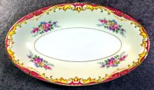 Vintage RM Czechoslovakia Bohemian China Floral Pattern Red Side Serving Dish