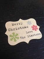 18 x PERSONALISED Vintage Christmas Wrapping Paper Labels stickers Kraft TYPE