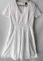 DAVID LAWRENCE stunning A Line Broderie Pocket Dress Size 12