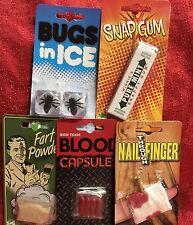 5 Piece Gross Funny Prank Starter Kit Practical Jokes Trick Gag Blood Fart Bugs