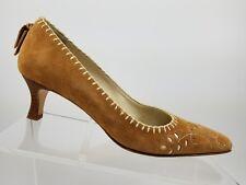 Talbots Tan Floral Slip On Cross Stitch Pointed Toe Kitten Heels Womens 6.5M
