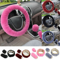 3pc Car Fur Plush Steering Wheel Gear Knob Handbrake Cover Wool Furry Fluffy
