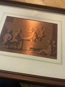 Framed Copper Etching Cherubs On Seesaw Plastic Frame