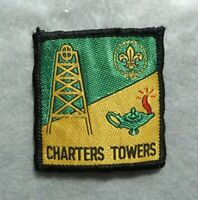 Vintage Scouts cloth badge, Charters Towers, approx. 2x2 inches, good condition.