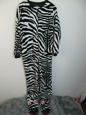 Nick & Nora Zebra Footed Pajamas Zip Adult Size S Black and White