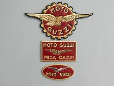 MOTO GUZZI KIT PELLE N 3 TOPPE PATCH RICAMATE TERMOADESIVE